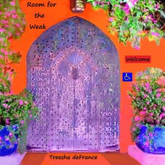 "The album cover is a beautiful violet color handmade old door, a wheelchair accessible entrance to a stucco-ish building, orange in tone, hugged by beautiful flowering plants, with a sign saying Welcome and a handicap accessible symbol. I wanted to make an inviting place for the ""weak"", disabled, to feel welcome, understood and appreciated."