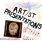 An illustrated slide with Artist Presentation in black (paintbushes replace the i's). Below is a musical score in red and a bown picture frame which contains a collage of a dolls head.