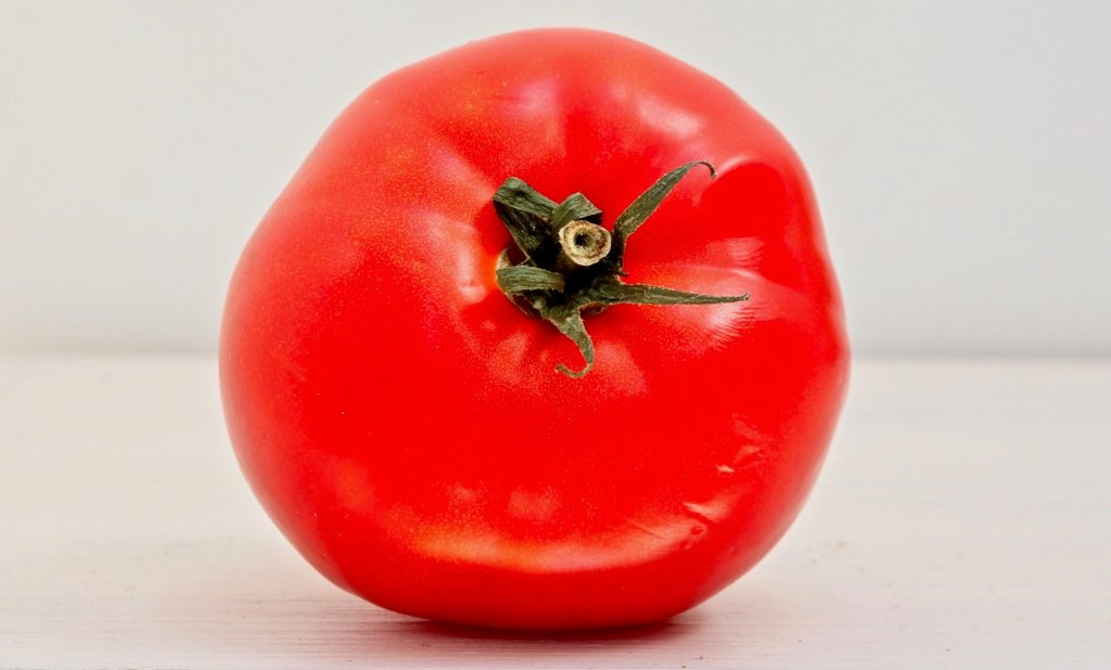 A bright red tomato on its side