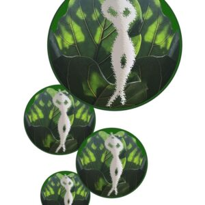 Digital artwork featuring 4 bubbles with a leaf inside, inside that is a paper cut out of a dancer