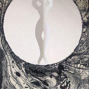 A paper ballerina inside a circle, set against a background of pen and ink illustrated lines and patterns