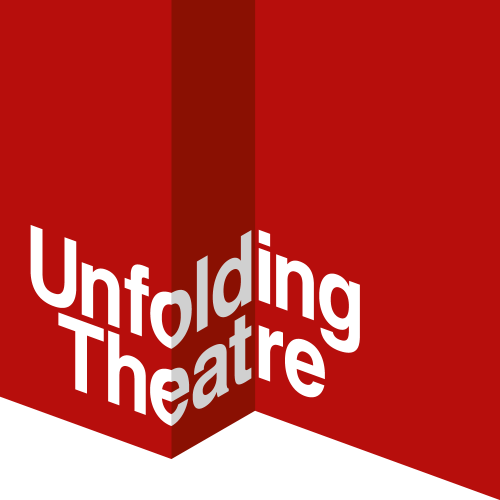 Unfolding Theatre's logo. White text on a red background.