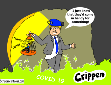 """Boris Johnson is down a mine holding up a cage with a small disabled figure in it. He is wearing a miner's helmet. Around his feet is a gassy mist identified as Covid 19. He is saying: """"I knew they'd come in useful for something!"""""""