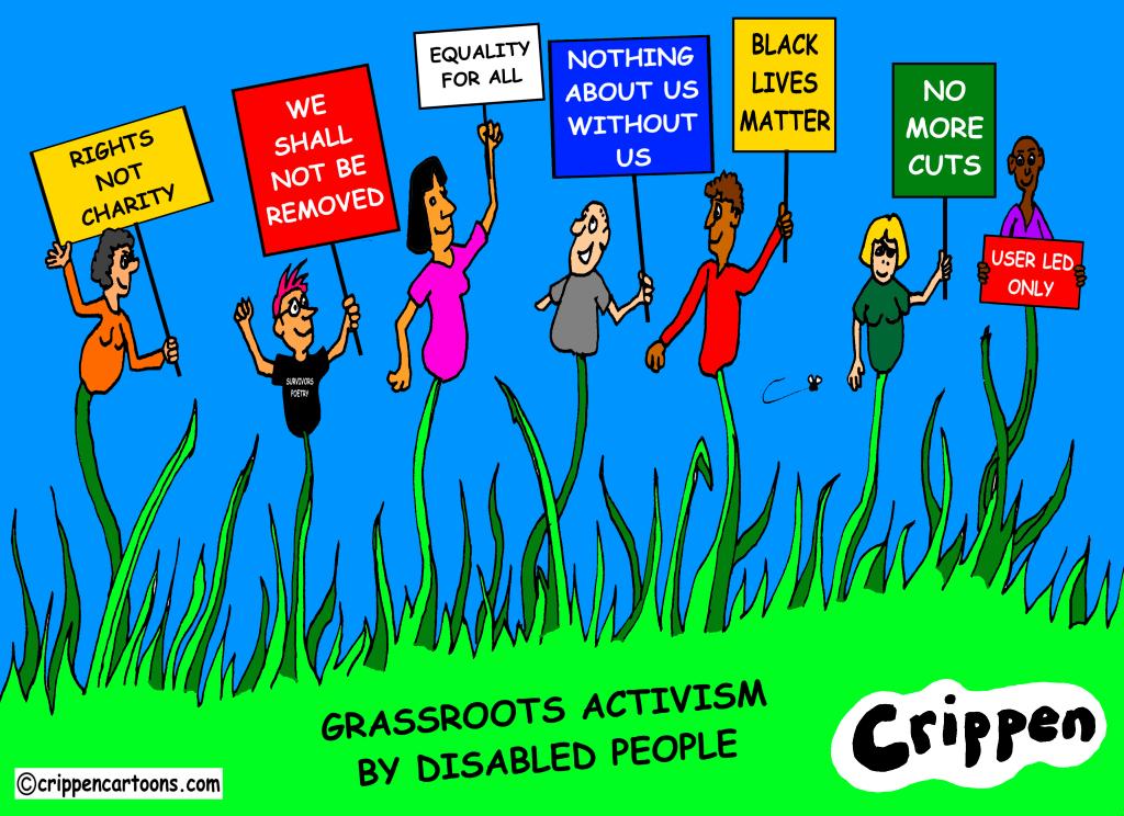 a cartoon about disabled grassroots activism