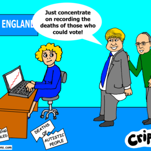 a cartoon about deaths of learning disabled people