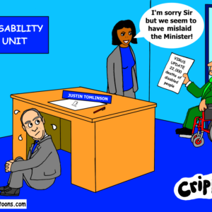 a cartoon about the lack of info from the disability unit