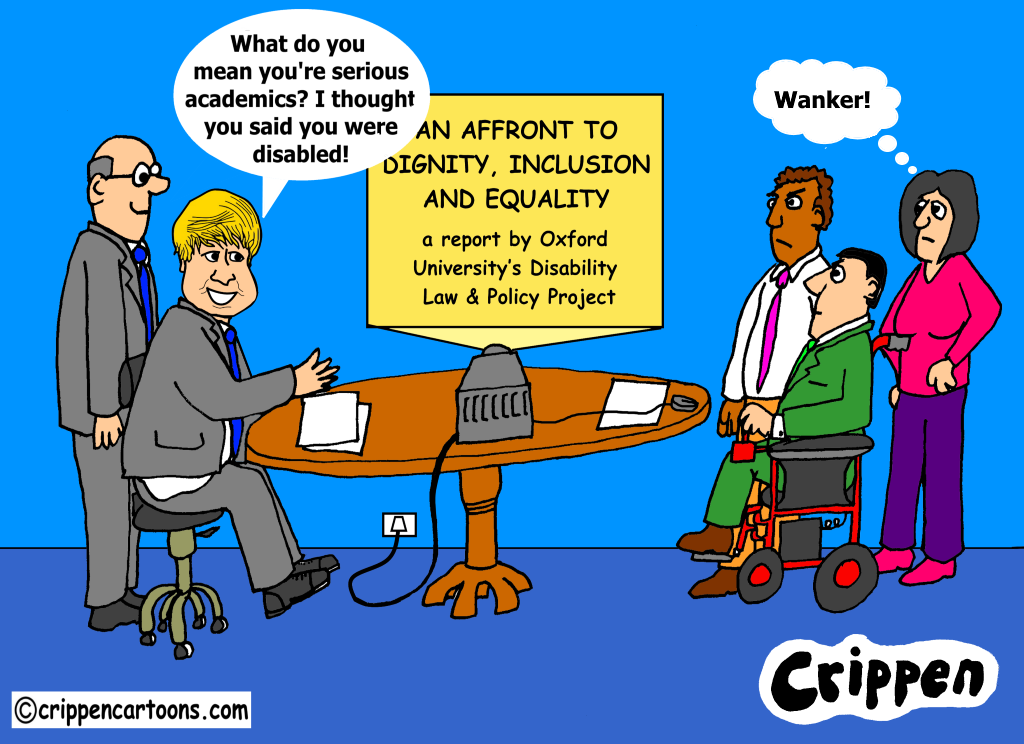 a cartoon about a report from disabled academics