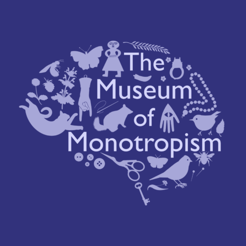 "The image shows the silhouettes of various unrelated objects arranged in the shape of a brain, with the words ""The Museum of Monotropism"" superimposed"