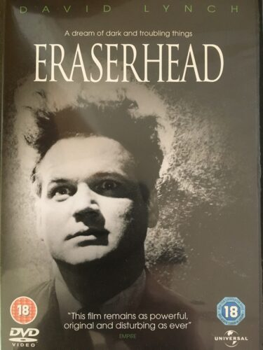 Front cover the DVD of Eraserhead, a white man with wild eyes and very tall hair