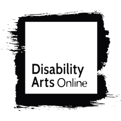 Disability Arts Online's logo featuring a white square inside a black paint splash and black text.