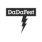 DaDaFest in white type within a black rectangle with a black lightning strike below