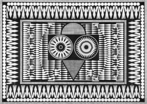 black and white graphic shapes drawn in a black pen