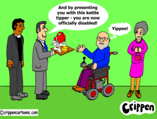 cartoon of a figure in a heelchair being handed a 'kettle-tipper'