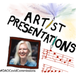 An illustrated slide with Artist Presentations in black (the i's are replaced with paintbrushes) below is a red musical score and a brown picture frame which contains a photo of Ellen.
