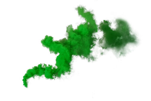 A green cloud on a white background