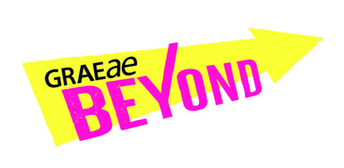 A large graphical arrow pointing to the right, with text onto which reads Graeae BEYOND in pink and black lettering