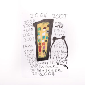 photo of an artwork of a mobile phone with apps with different years written around it.