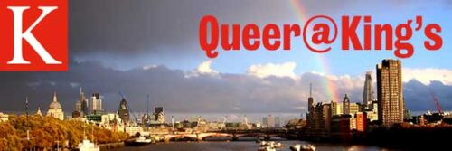 The picture displays the Queer@King's logo. It shows a photo of London, showing a river view framed by the City of London and St. Paul's Cathedral on the one, and high buildings on the other side. Above the river are dark clouds and a rainbow in the sky. There is the white letter K on a red background (King's College logo) in the top left corner and 'Queer@King's' is written in red in the top right corner.