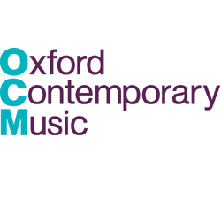 Oxford above Contemporary above Music. The first letter of each word is in bold turquoise, the rest of the words are written in black narrow text.
