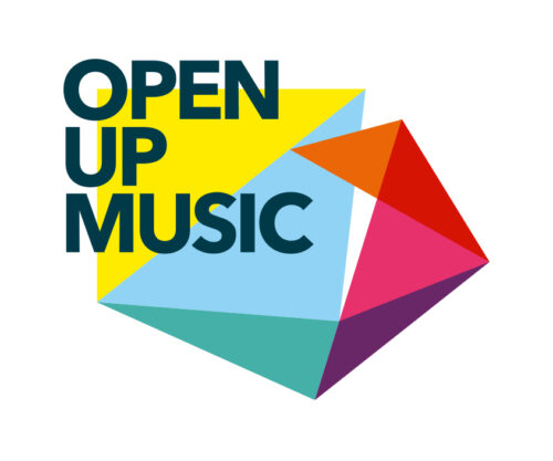 Open Up Music in dark blue capitals over brightly coloured triangles styled like an unfolding box.