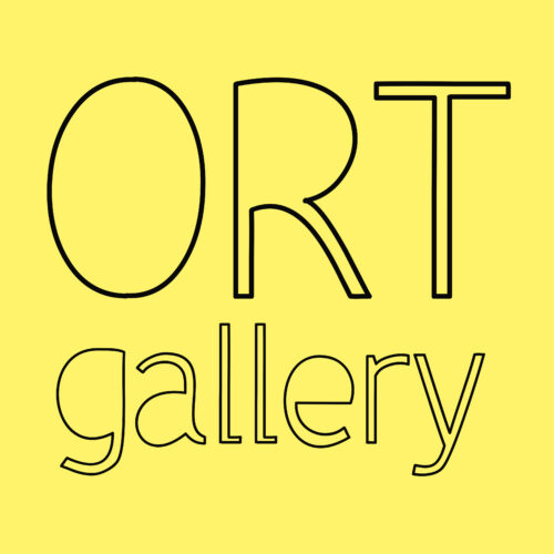 A yellow background with black letters that read Ort Gallery.