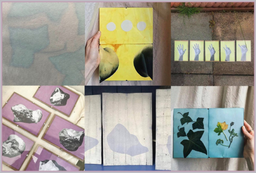 A photograph showing six different types of anthotype prints using the sunlight and different objects and dyes
