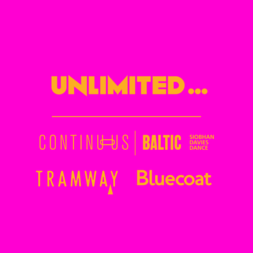 Logo Lock-Up of new commission including: Unlimited, CONTINUOUS, Tramway & Bluecoat in orange on a pink background.