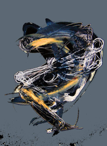 abstract artwork of a figure in motion