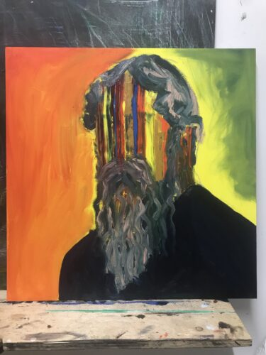 photo of painting of a bearded figure