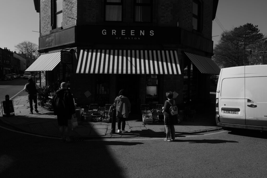 A traditional looking grocery shop called 'Greens'