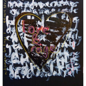 Text based art work, the words love and rage are written in a heart, which is overlaid on layers of illegible text