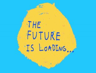 Blue background with a central yellow circle. Blue capital text in the circle reads 'The Future is Loading...'