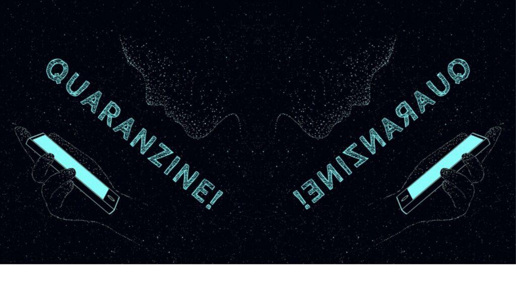 black and light blue zine cover image