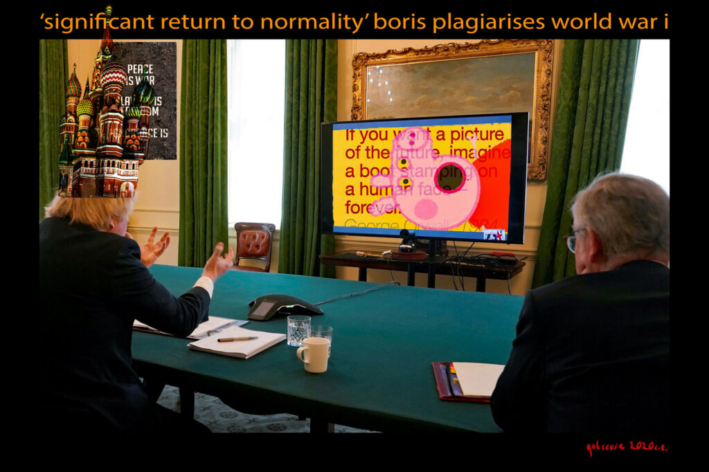 collage of politicians wathcing peppa pig on a screen