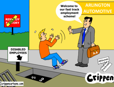 a cartoon about ex remploy employees