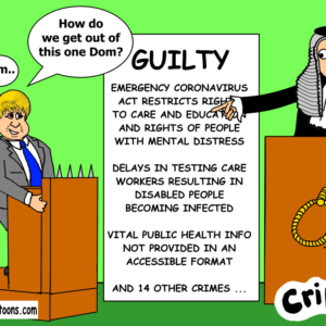 cartoon about government guilty of restricting disabled people's rights