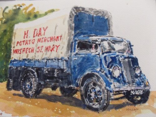 watercolour painting of a truck