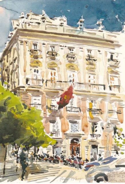 watercolour of buildings
