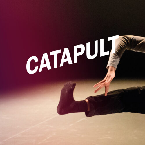 An image of just the leg and am of jumping with their legs outstretched to the sides. Across the image at an angle in white capitals is Catapult.