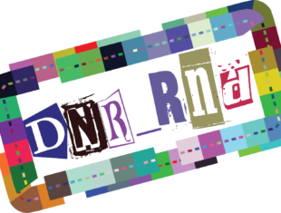 Digital graphic which spells out the letters DNR_RND