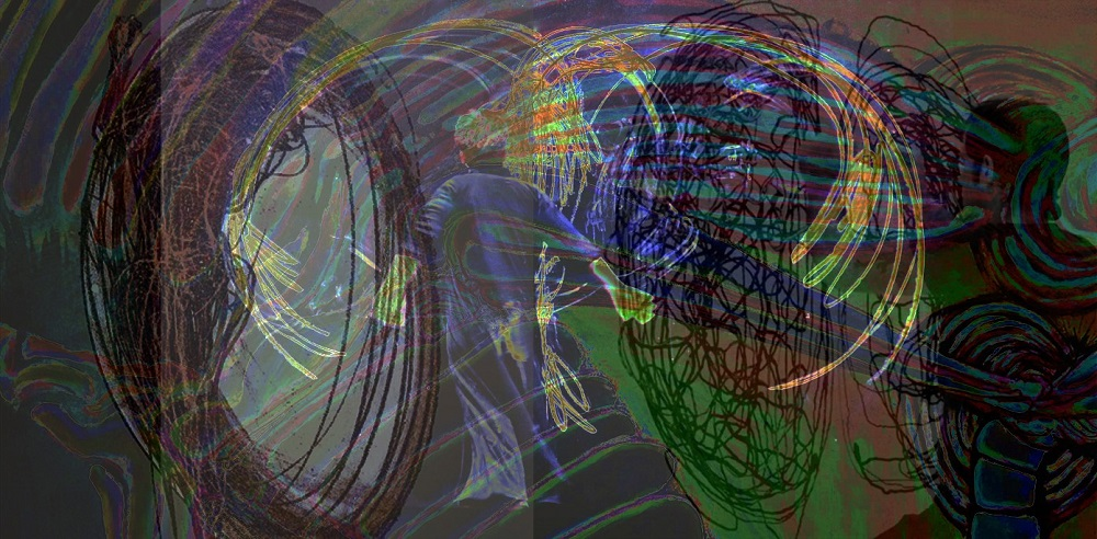 Digital images with swirling lines in hues of green and purple, a woman in shown with her back to the viewer