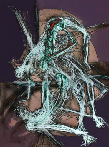 Digital image of a skeletal, human form distorted