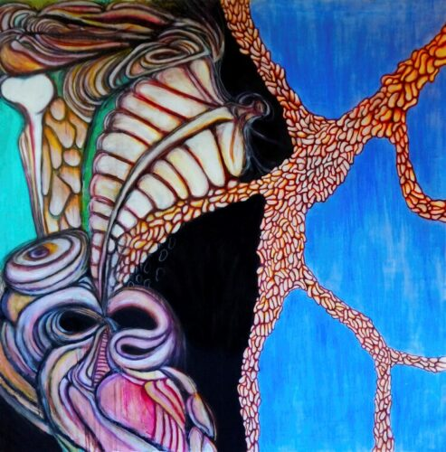 Abstract image of a fleshy figure against a blue backdrop