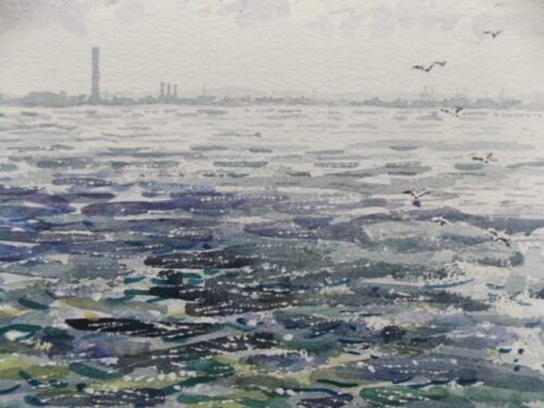watercolour painting of the light on the sea