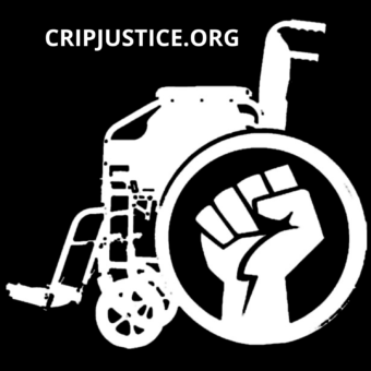 A wheelchair that says cripjustice.org