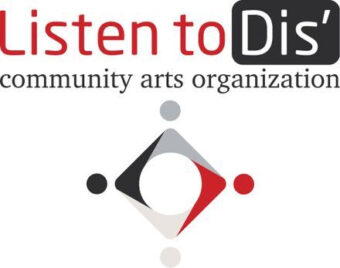 Listen to Dis' logo with the name of the organization above a red, white, black, and grey circular shape with dots reminiscent of heads representing collaboration