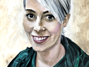 Painting of a young female NHS nurse with white blone hair in her green overalls smiling