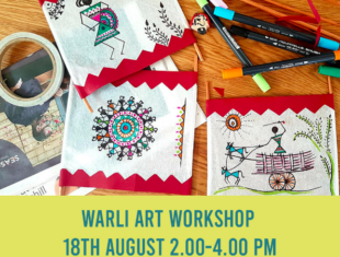 An example of warli art on cloth with drawings and patterns in red and blue ink. text underneath that says warli art