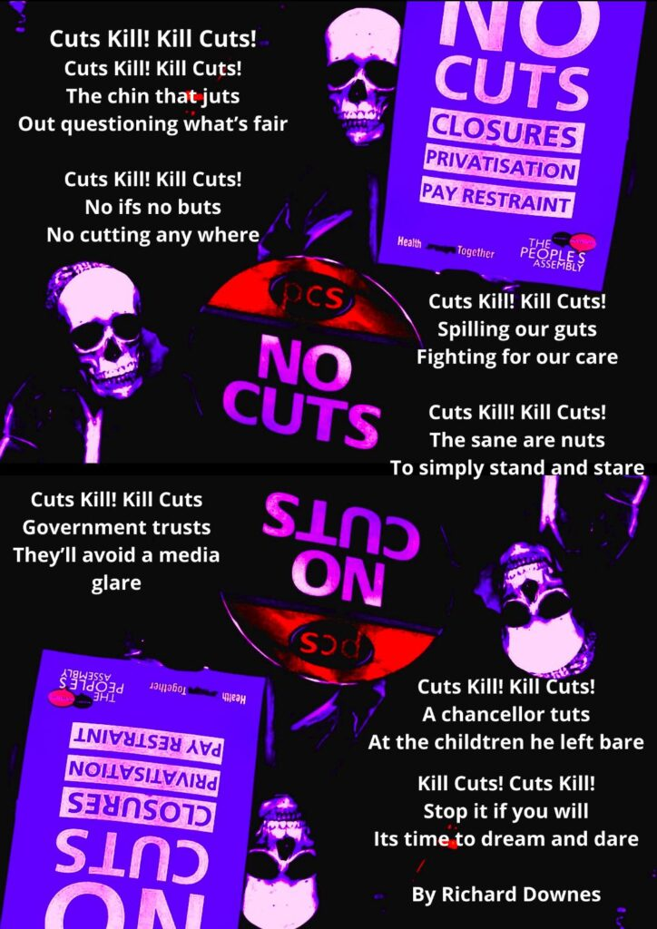 'cuts' kill' visual poem with images of skeletons holding 'no cuts' banners