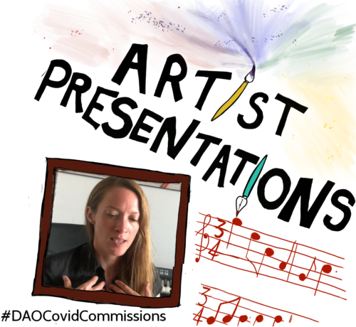 Illustrated slide which reads Artist Presentations featuring a photograph of a white woman in her thirties